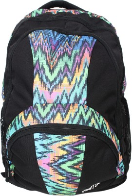 Justcraft Trendy Black and Printed Multi Color 30 L Backpack