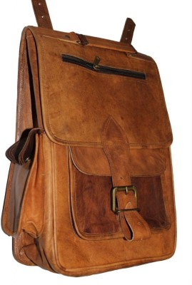 Nistula Genuine leather Handmade Rucksack Messenger Backpack Brown 18 L Backpack