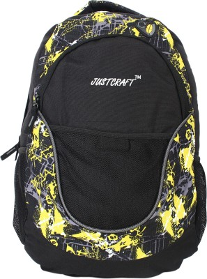 Justcraft Jigar Black and Printed Yellow 25 L Backpack