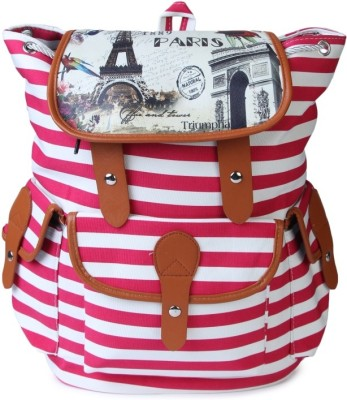 Kleio Striped Backpack in Canvas 1 L Backpack(Pink)