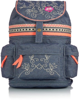 Shaun Design Embroidered Denim 8 L Medium Backpack