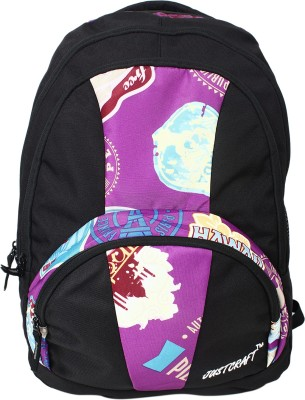 Justcraft Trendy Black and Printed D Purple 30 L Backpack