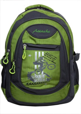 Attache Stylish School Bag (Green & Grey) 30 L Backpack