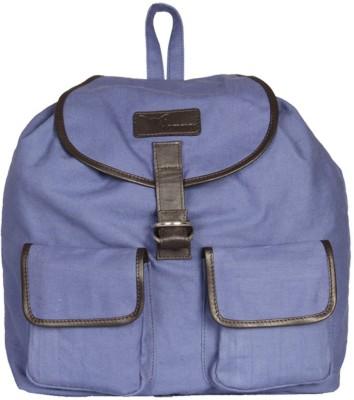 Hidemaxx Unisex Canvas-Leather 14 L Backpack(Blue)