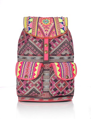 Shaun Design Pink Jacquard Embroidered 8 L Medium Backpack