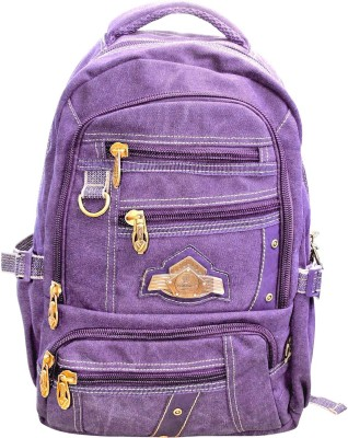 Bagathon India Multi Pockets Canvas Bag With Water & Dust Proof Rain Cover [PURPLE] 25 L Backpack