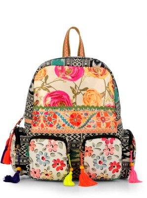 The House of Tara Fabric Printed Cotton Durrie 27 L Backpack(Multicolor)