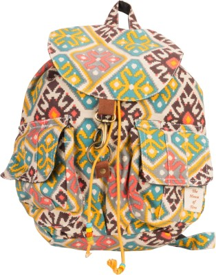 The House of Tara Canvas Ikkat Print Bag 16 L Medium Backpack