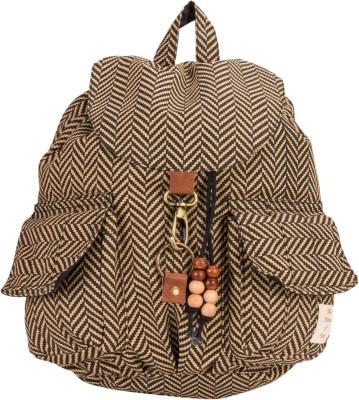 The House of Tara Canvas Herringbone Print Bag 16 L Medium Backpack