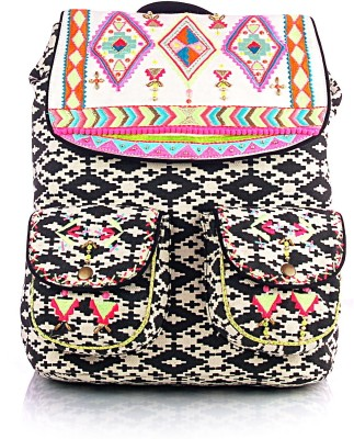 Shaun Design Ikat Embroidered with Laptop Protection 11 L Medium Backpack