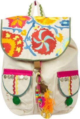 The House of Tara Embroidered Canvas 16 L Backpack