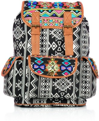 Shaun Design Tribal Embroidered Black 8 L Medium Backpack