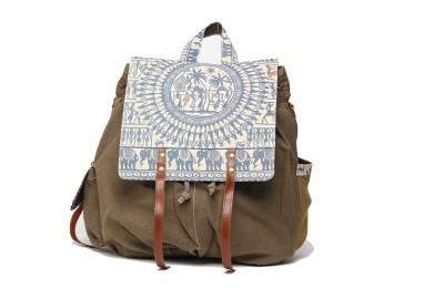 The House of Tara Madhubani Multiutility 016 Large Backpack(Khakhi Green)