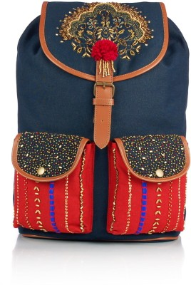 Shaun Design Red Blue Embroidered with Laptop Protection 12 L Large Backpack