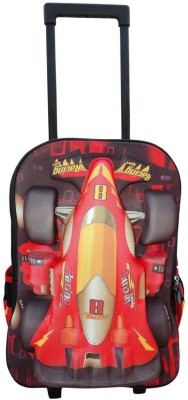Bagathon India Kids 3D Racing Car Backpack With Trolley Wheels Feature 25 L Trolley Backpack