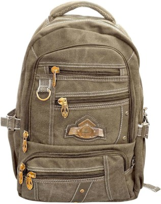 Bagathon India Multi Pockets Canvas Backpack With Water & Dust Proof Rain Cover [CREAM] 25 L Backpack