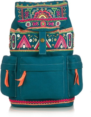 Shaun Design Turquoise Canvas Embroidered 8 L Medium Backpack