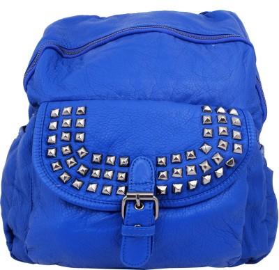 Super Drool Blue Soft Leather Finish Studded Backpack Cum Shoulder Bag 7 L Backpack