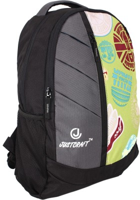 Justcraft Glaxy Black and Printed Perrot Green 25 L Backpack
