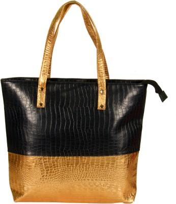 India Unltd Black and Copper Tote Bag School Bag