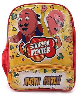 Motu Patlu Samosa Power Print 14 Inch Red & Yellow School Bag
