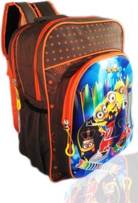 Digital Bazar American Orange 3D EMBOSSED MIRACLE KARNATAKA BOY Cartoon Backpack(PAPA MUMMA)Edition 3rd Waterproof School Bag