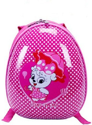 T-Bags Cute Cat With Umbrella Rose Pink Hard Shell Waterproof School Bag