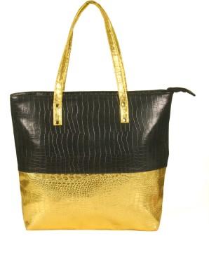 India Unltd Black and Golden Tote Bag School Bag