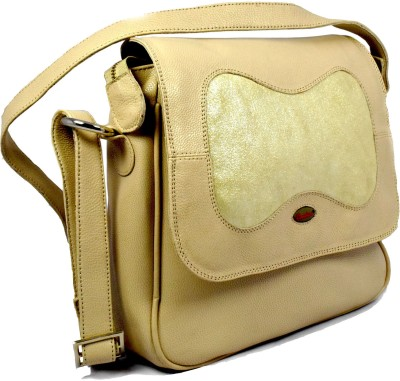 Canthari Sling bag with combination of plane Off white leather and foil leather School Bag