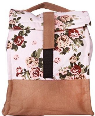 White Flower Waterproof Lunch Bag(Multicolor, 6 L)
