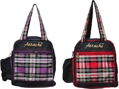 Attache Padded 1 Container Box Set of 2(Blue with red &PUPLE) Lunch Bag