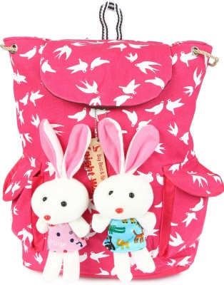 Knight Wolf LM2_Teddy with Printed White Birds on Pink Base School Bag