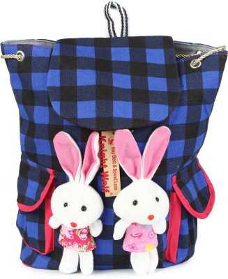Knight Wolf LM2_Teddy with Printed Blue Check School Bag