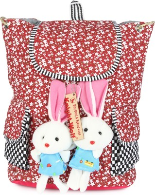 Knight Wolf LM2_Teddy with Printed White Flowers on Red Base School Bag