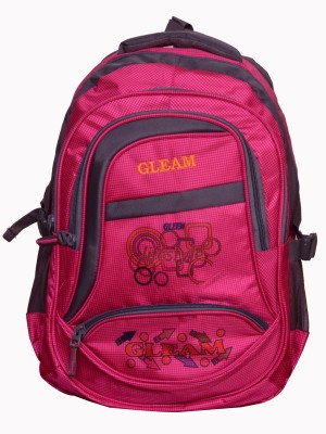 Gleam Mesh Padded School Waterproof School Bag(Pink, 17 inch)