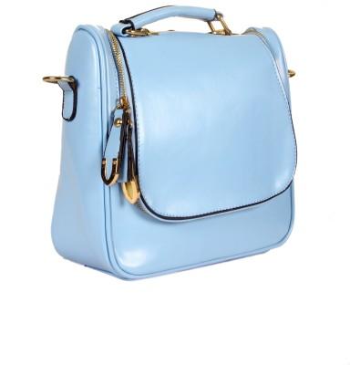 India Unltd Patent Leather Blue Backpack School Bag