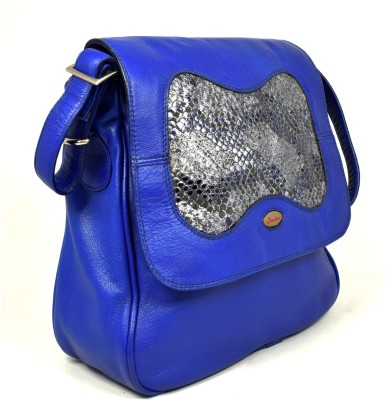 Canthari Sling bag with combination of plane Blue and foil leather School Bag