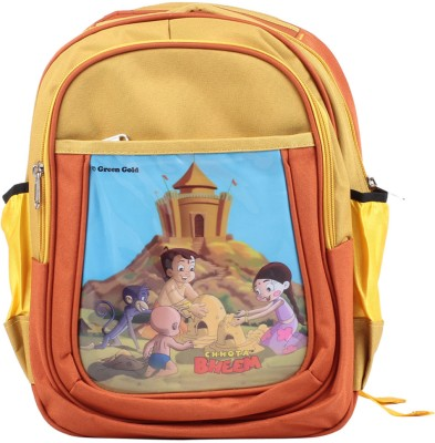 Green Gold Chhota Bheem Waterproof Backpack
