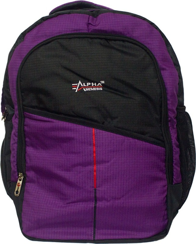 Alpha Nemesis Waterproof School Bag(Black, Purple, 17 inch)