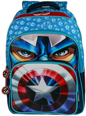 Disney Captain America School Bag(Blue, 16 inch)