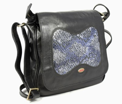 Canthari Sling bag with combination of plane leather and foil leather School Bag