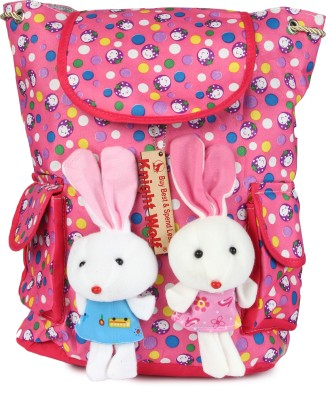 Knight Wolf LM2_Teddy with Printed Dots on Pink Base School Bag