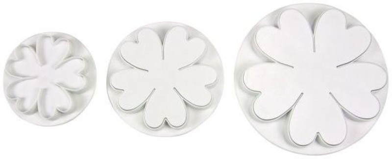 Thw Heart Shaped Flower Plunger Pastry Cutter(Pack of 3)