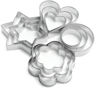 JLT Stainless Steal Heart, Round, Flower, Star Shape Cookie Cutter(Pack of 12)