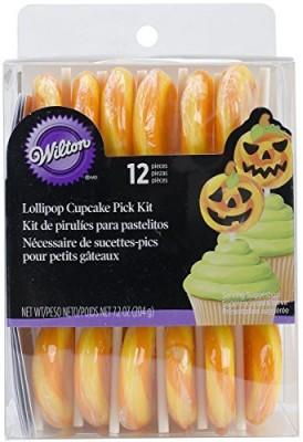 Wilton Jack-O-Lantern Lollipop Cupcake Pick Kit Edible Cake Topper(Yellow Pack of 12)