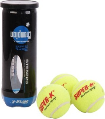 SUPER-K Champion Tennis Ball - Size- 4, Diameter- 6.6 cm(Pack of 3, Yellow)