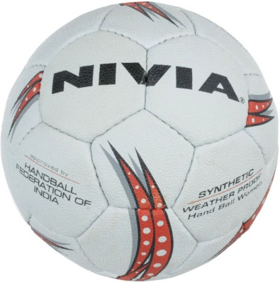 Nivia SYNTHETIC Handball -   Size: 3,  Diameter: 18 cm(Pack of 1, White, Red)