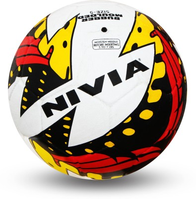 Nivia Typhoon Football -   Size: 5,  Diameter: 22 cm(Pack of 1, Black, Yellow, Red)