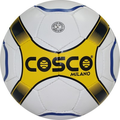 Cosco Milano Football - Size: 4, Diameter: 20 cm(Pack of 1, White, Yellow, Black)