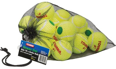 Tourna Low Compression Green Dot Tennis Ball with Mesh Bag Tennis Ball - Size: 5, Diameter: 6.86 cm(Pack of 18, Green, Yellow)